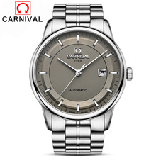 Carnival Japan MIYOTA Movement Automatic Watch Men Simple Full Steel Mechanical Watches High Quality Clock relogio masculino все цены