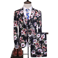 Flower Suit Men 2018 New Arrival High Quality Wedding Party Casual Slim Suits