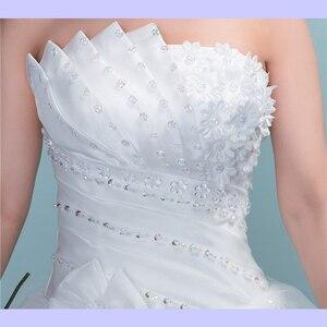 Image 5 - Новинка 2019 роскошное свадебное платье со стразами и длинным шлейфом пикантное платье без бретелек регулируемое свадебное платье с аппликацией L