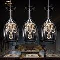 Conduziu a iluminação de cristal de vidro de vinho pendurado lâmpadas sala de estar sala de jantar quarto moderno minimalista personalidade criativa europeia