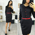 Elegant Autumn Straight Dress 2018 New Fashion Shirt Dress Women Casual V-neck Red Button Pockets Blue Office Dresses No belt