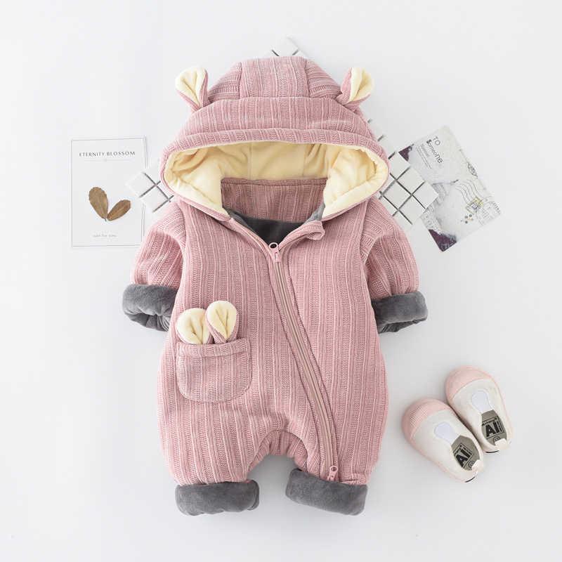 Mode Herbst & Winter Neugeborenen Baby Kleidung Fleece Overall Jungen mädchen Strampler Mit Kapuze Overall Verdicken kleidung