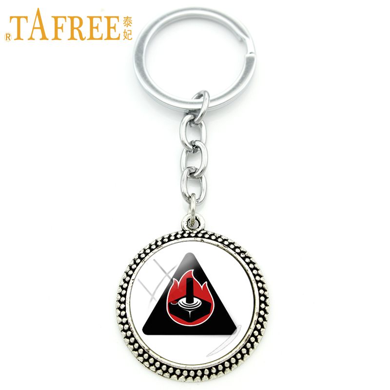 TAFREE Black Gaming Joystick Fireball Key Chain on a white background keychain ring holder men women Rhodium Plated jewelry H629