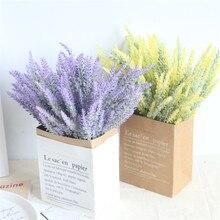 25 Heads/Bouquet  Wedding Party Artificial Flowers Lavender Fake Bridal Bouquet Purple Leaves Home Decorations Flower