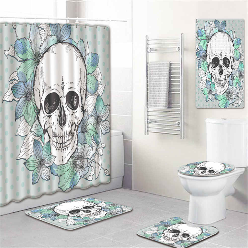 Skull Shower Curtain Bath Rug