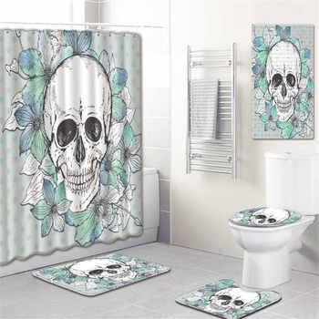 5 teile/satz 3D Schädel Dusche Vorhang Bad Teppich Set Wc Abdeckung Bad Matte Set Badezimmer Zubehör Vorhänge Mit Haken