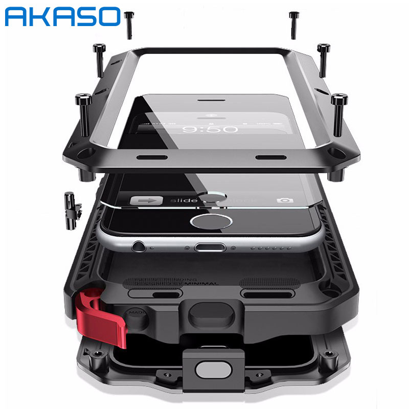 AKASO de Metal de lujo militar a prueba de golpes a prueba de polvo caso resistente armadura resistente a la suciedad Anti-knock caja de aluminio para iPhone 5S 6 6 S 7