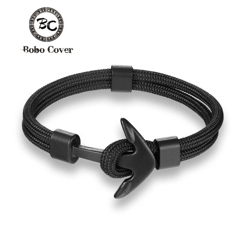 New Fashion Woven Multilayer Black Anchor Bracelets Men Hope Anchor Bracelet Pulsera Navy Hand Lucky Survival