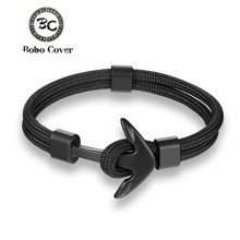 New Fashion Woven Multilayer Black Anchor Bracelets Men Hope Anchor Bracelet Pulsera Navy Hand Lucky Survival Leather Bracelets