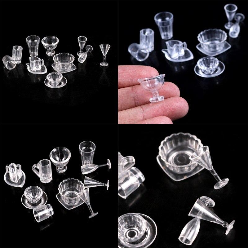 1 Set (13 Stücke) Diy Pretend Spielen Geschirr Spielzeug Mini Transparent Trinken Tassen Teller Teller Geschirr Miniaturen
