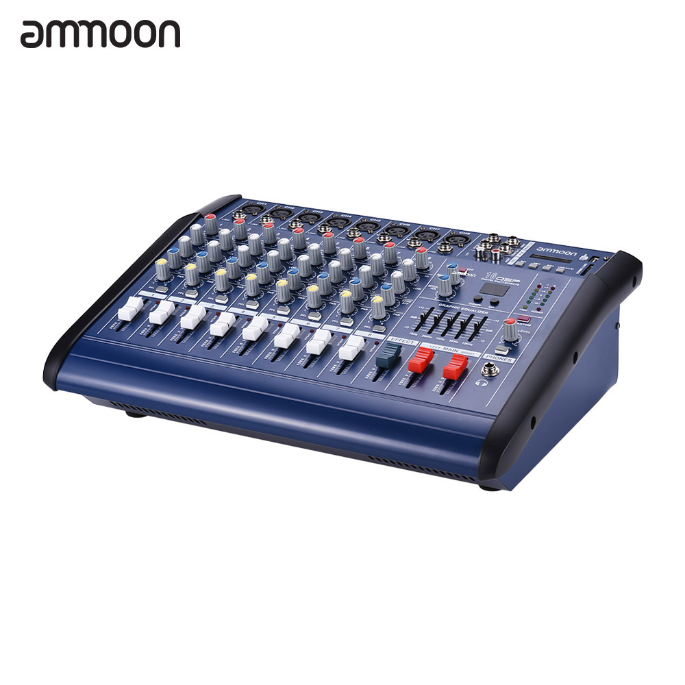 ammoon 8 channels powered mixer amplifier digital audio mixing console amp with 48v phantom. Black Bedroom Furniture Sets. Home Design Ideas