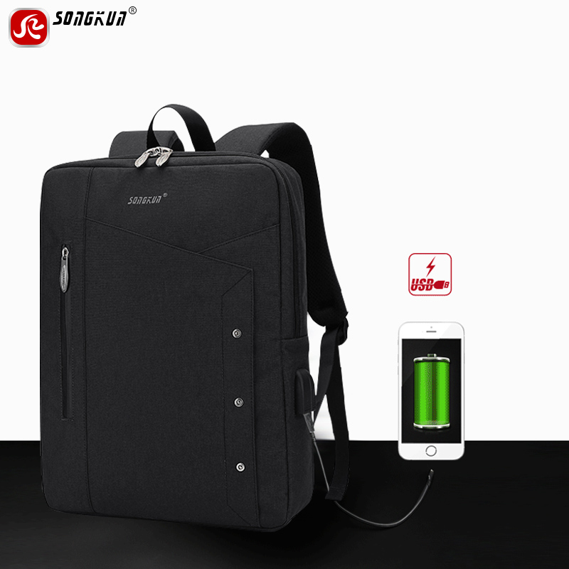 Songkun USB Charge Backpacks Men 15.6 inch Laptop Backpack Notebook Computer School Bags Business Travel Backpack Waterproof 15 inch laptop computer notebook backpack 2015 men brand men s backpacks designer black travel business backpack high quality