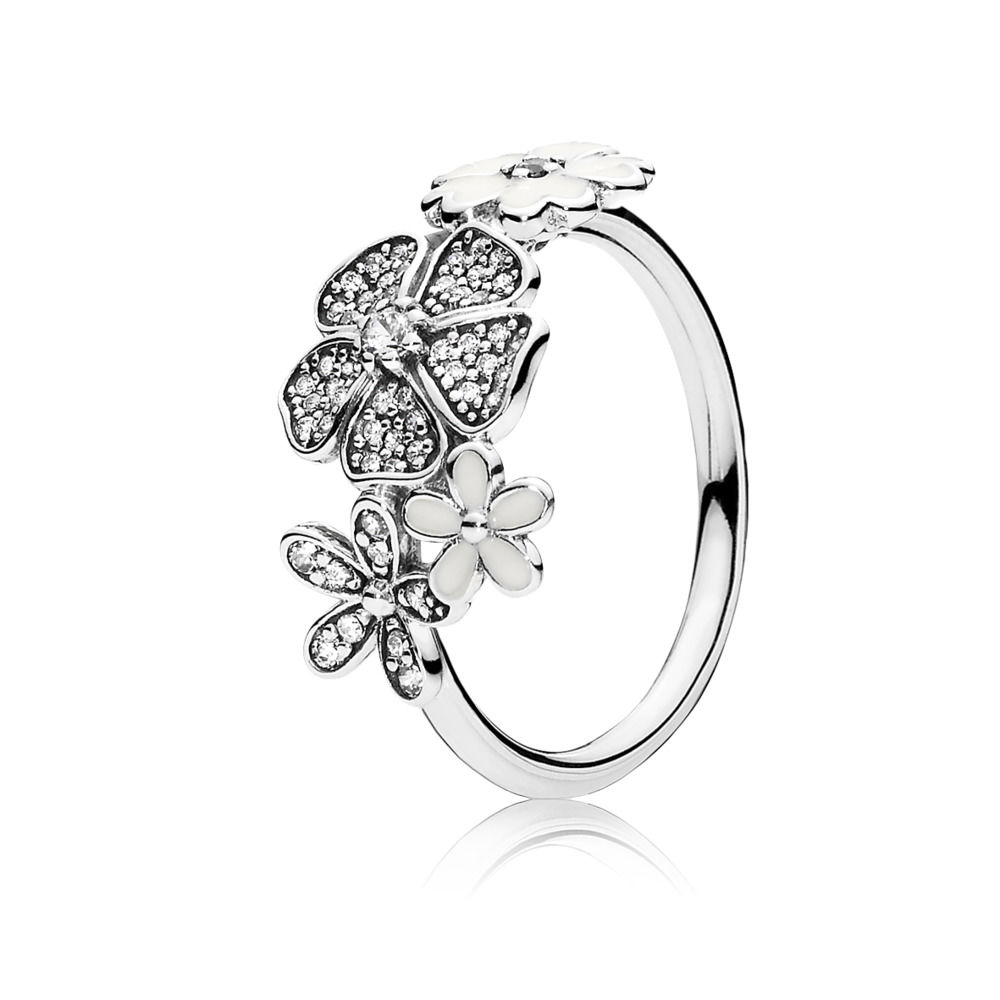 Silver Ring Charms Cherry Blossoms With Crystal Diy Round Heart To Heart Finger Ring For Women Pearl Jewelry 6 Size in Rings from Jewelry Accessories