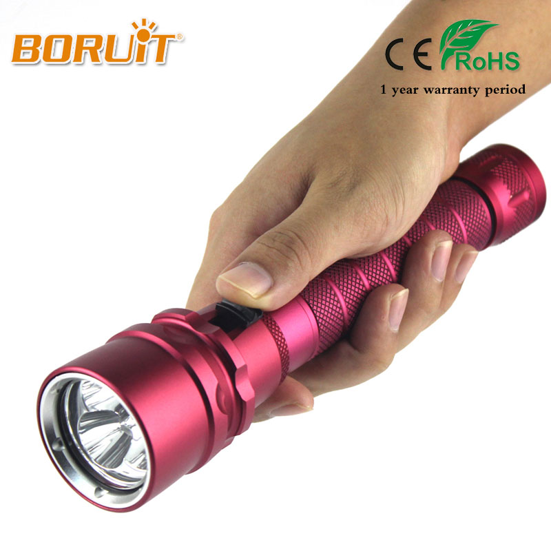 BORUIT XML T6 6000LM LED Scuba Diving Flashlight Torch Power Waterproof Flash Lamp Lantern Underwater 50M
