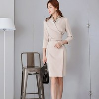 Hot Fashion Women Three Quarter Sleeve Formal Dress Casual Beige Sashes Bodycon Dresses Autumn Notched Collar Suit Dresses