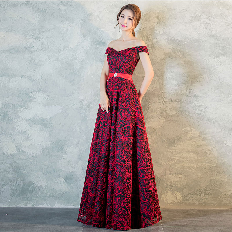 FADISTEE New arrival elegant evening party dresses Vestido de Festa long  gown lace boat neck Robe De Soiree prom dress aed9f3f007b6