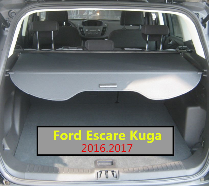 Car Rear Trunk Security Shield Cargo Cover For Ford Escare Kuga 2016.2017 High Qualit Black Beige Auto Accessories car rear trunk security shield shade cargo cover for toyota highlander 2009 2010 2011 2012 2013 2014 2015 2016 2017 black beige