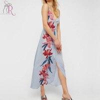 블루 꽃 인쇄 워프 분할 전면 스파게티 스트랩 등이없는 맥시 dress 여성 깊은 v 넥 민소매 중국어 매듭 버튼 드레