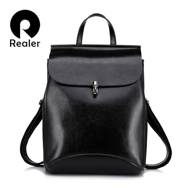 REALER модный женский рюкзак из высококачественной сплит-кожи, школьный рюкзаки для девочек подростков, винтажный молодежный рюкзак на ремне