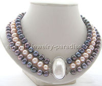 Wholesale price 16new ^^^^Beautiful 17 19 3row 9mm natural black pink round freshwater pearl necklace