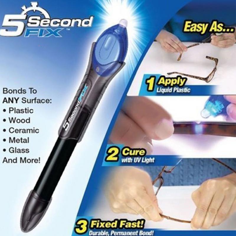 5 Tweede Fix Vloeibare Glas Lassen Compound Lijm Reparaties Tool Quick Gebruik UV Licht Fix Pen/Refill Lijm Optioneel