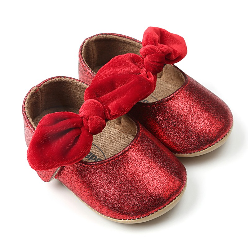 Bling Baby Shoes Spring Newborn Bow Baby Girl Shoes PU First Walkers Bow Fashion Bling Baby Princess Girl Shoes