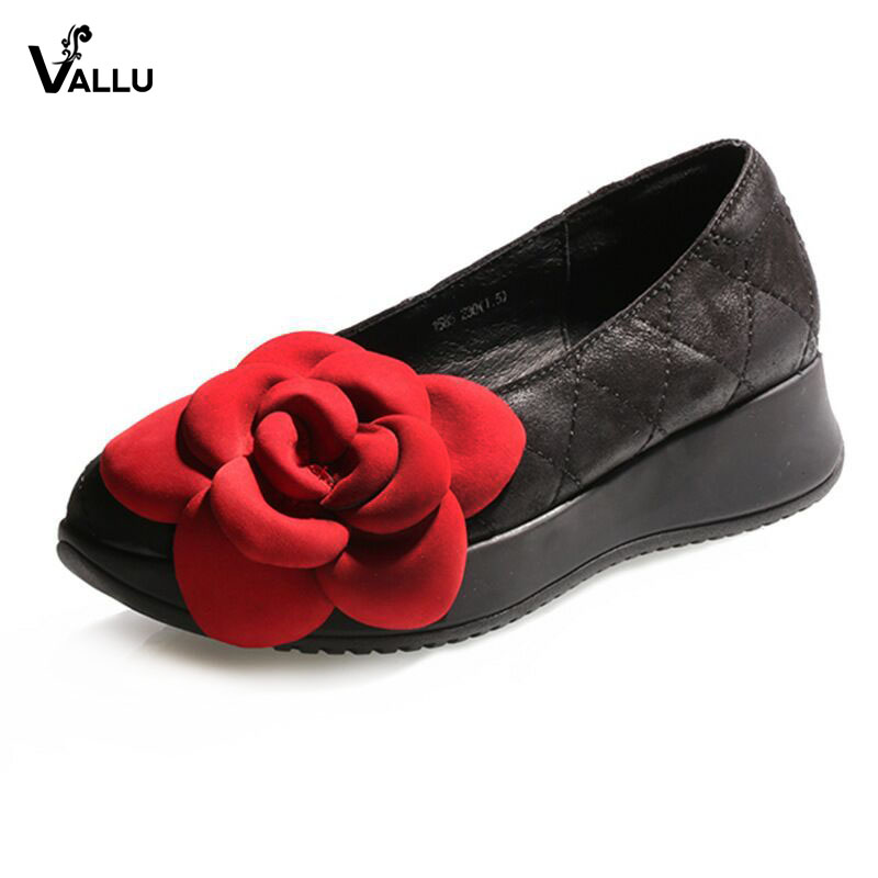 VALLU New Arrival Shoes Women Flat Platform Shoes Genuine Leather Flower Women Flats Handmade Vintage Female Casual Loafers