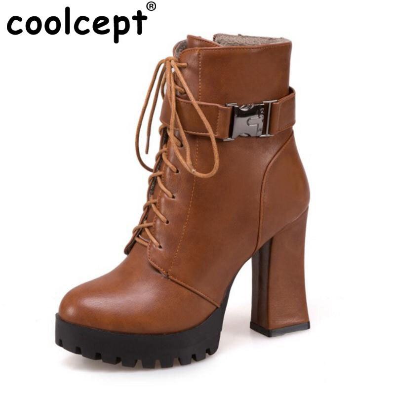 Coolcept Size 32-43 Women High Heels Mid Calf Boots Women Cross Strap Zip Boots With Thick Fur Platform Women Winter Warm Botas double buckle cross straps mid calf boots