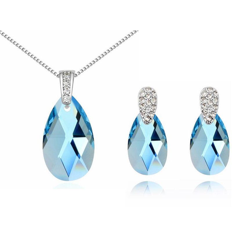 Austrian Crystal Necklace Earrings Water Drop Crystal From SWAROVSKI Women 2017 Jewelry Sets Fashion Bijouterie a suit of chic fake crystal pearl water drop necklace and earrings for women