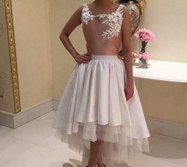 Elegant Sleeveless Robe De Soiree Long Back Short Front Gowns A-line Vestido De Novia 2018 Party Prom Gown Bridesmaid Dresses