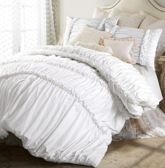 100 Baumwolle Weiß Prinzessin Doppel Bettwäsche Set Mädchen Voller