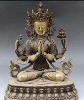 """Ev ve Bahçe'ten Statü ve Heykelleri'de 11 """"Tibet Budizm Bronz koltuk 4 kollar Chenrezig Buda Avalokiteshvara Heykeli R0707 Indirim 35%"""