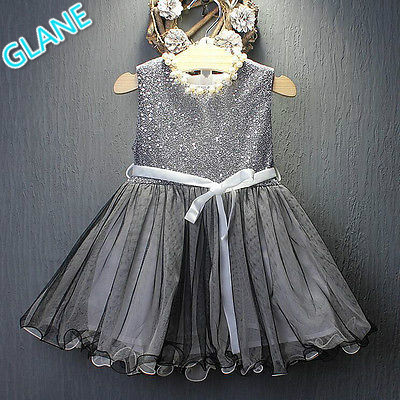 075d7310656f5 2016 Latest Sequins Baby Girls Dress Party Gown Bridesmaid Tulle Tutu Bow  Dresses 1-7Y