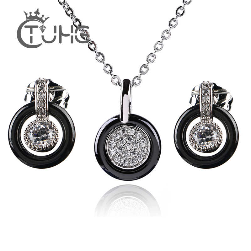 Silver Color Fashion Ceramic Jewelry Set Cubic Zircon Statement Long Pendant Necklace & Stud Earrings Wedding Jewelry for Women