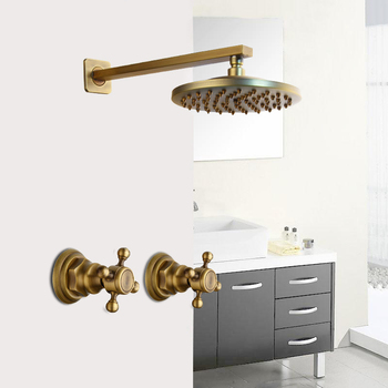Shower Faucet Sets 8 inch Antique Brass Round Square Wall Mounted Bathroom Rainfall Head 2 Handles Shower Shower Sets