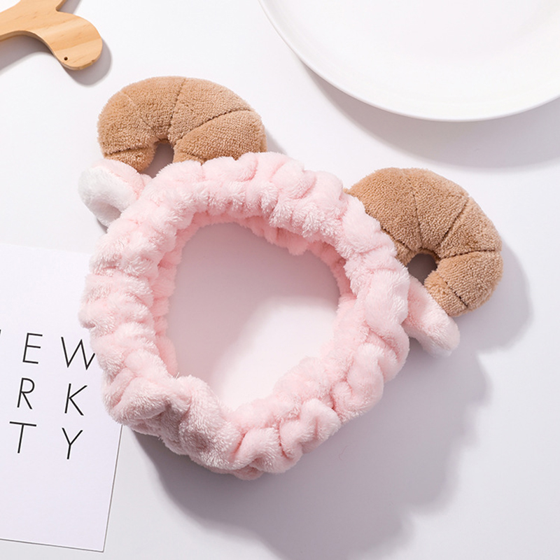 Cute Elastic Sheep Horn Headbands Women Girls Makeup Face Washing Headband Hairdo Facial Mask Headwrap Hairband Hair Accessory