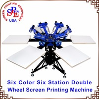 SPEA662L Six Color Six Station Double Wheel Screen Printing Machine Tshirt Platen Screen Press