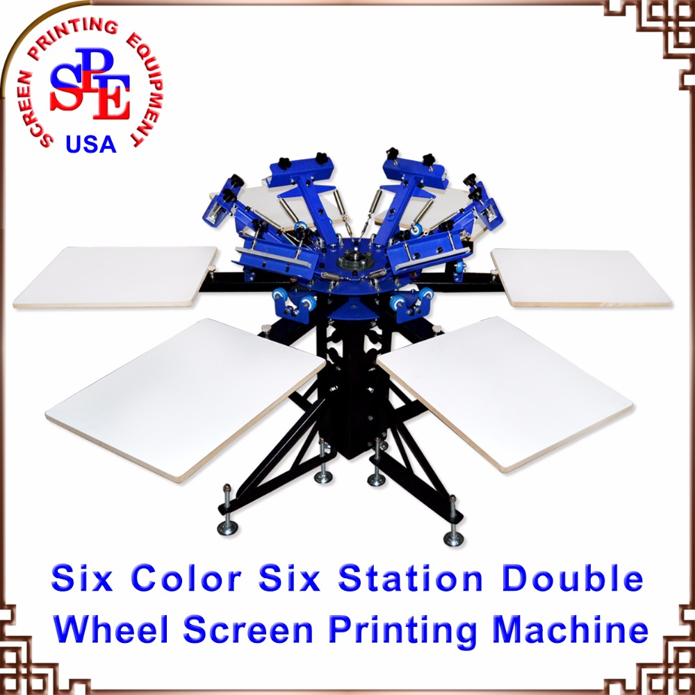 SPEA662L Six Color Station Double Wheel Screen Printing Machine Tshirt Platen Press