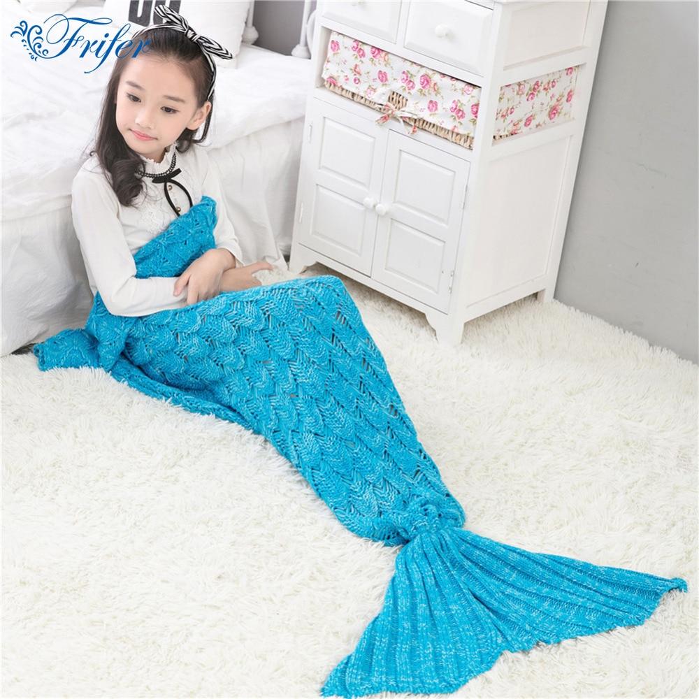 140x70cm Children Yarn Knitted Mermaid Tail Blanket Handmade Crochet BlanketS Throw Bed Sofa Wrap Lovely Sleeping Bag for Kids