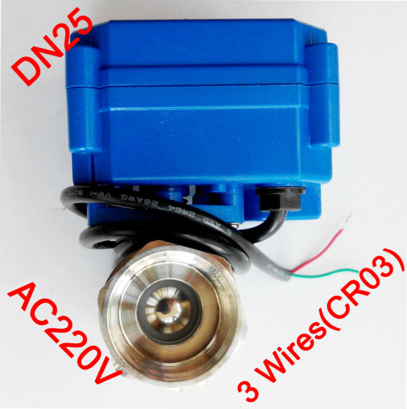 1 Miniature Electric valve 3 wires (CR03), AC220V motorized valve SS304, DN25 electric actuated valve for HVAC systems 1 2 mini electric valve 3 wires cr03 dc5v motorized valve ss304 dn15 electric auto valve for brewing