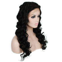 L-email wig Long Black Curly Lace Front Wigs 22inches Synthetic Lace Front Wig Women Hair Heat Resistant Synthetic Hair Perucas(China)