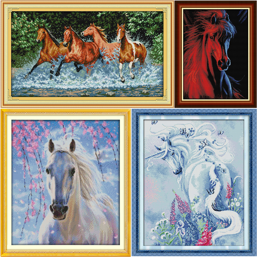 Joy Sunday Cross Stitch Kit 14CT Stamped Embroidery Kits Precise Printed Needlework The Horse Mother and Son 55/×45CM
