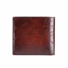 TERSE_Luxury engraving handmade short wallet with card holder genuine leather business men wallet in 5 colors wholesale price
