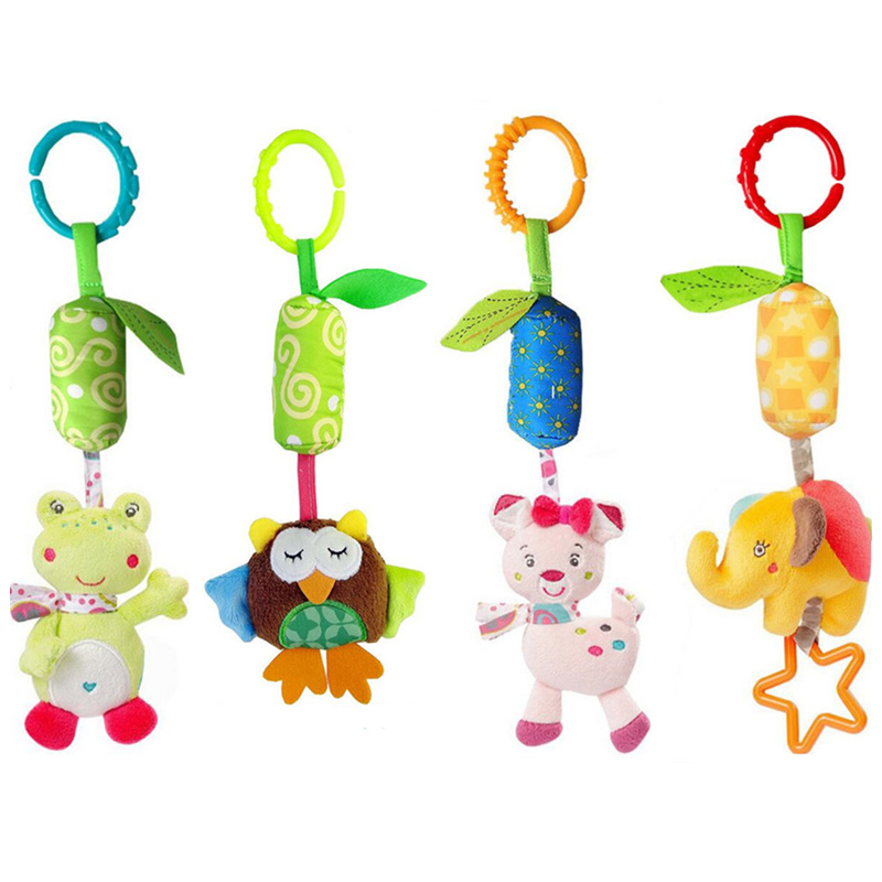 Image 2 - Baby Animal Soft Rattles Toys for baby 0 12 month Bed Crib Stroller Music Hanging Bell kids Stuffed Toys Mobile Baby Plush Toy-in Baby Rattles & Mobiles from Toys & Hobbies