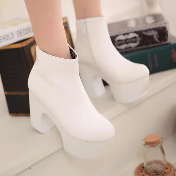 2014 Women's Black White Chunky Heels Platform women's ...
