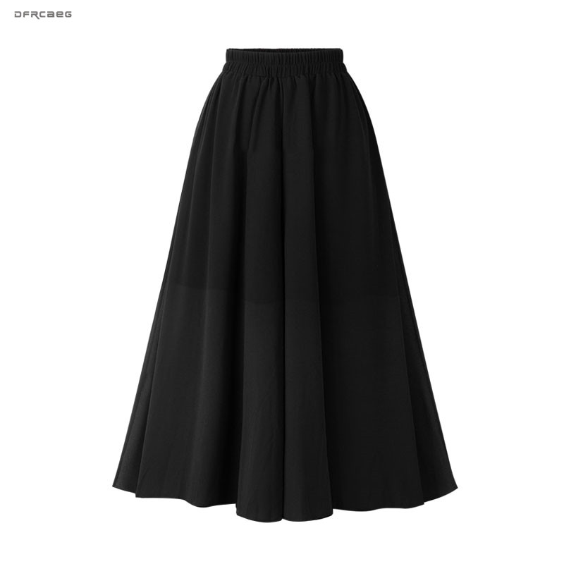 New Arrivals Beach Chiffon Midi Skirt For Women Summer 2019 Elastic Waist Black Boho Pleated A-Linen Skirts Femm Saia