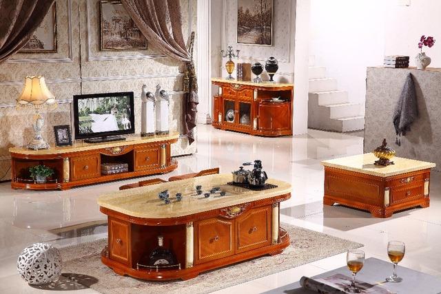 Conjunto sala de estar mesa de café de madeira branca + mesa final + TV stand + móveis console de mesa fabricados na China