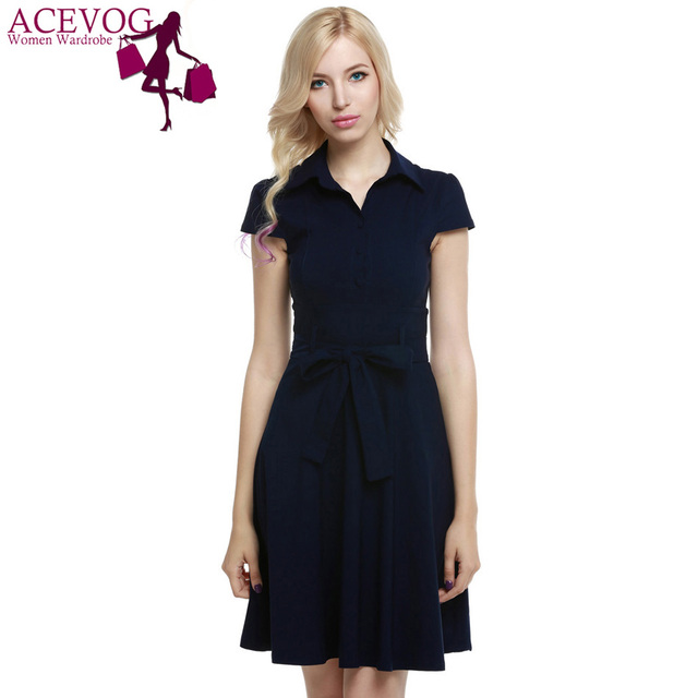 ACEVOG 1950s Women Cap Sleeve Belt Vintage Style Classical Front Buttons  Casual Party Swing Dress With Bow Belt f37920585