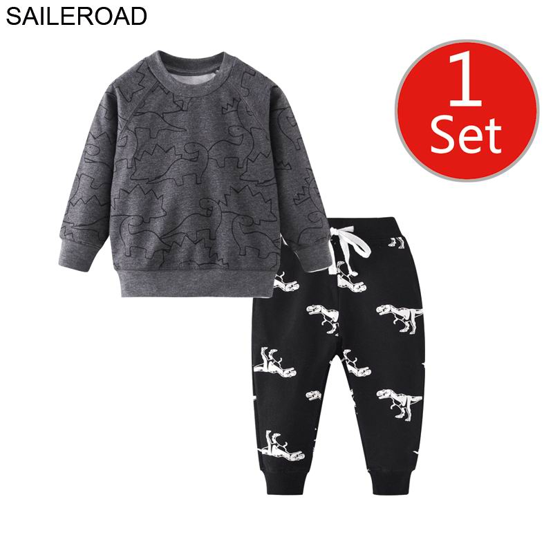 SAILEROAD Dinosaur Print Costumes for Boys Long Sleeve Outfits Autumn Two-piece Toddler Boy Clothing Sets Cotton Clothes Set 4