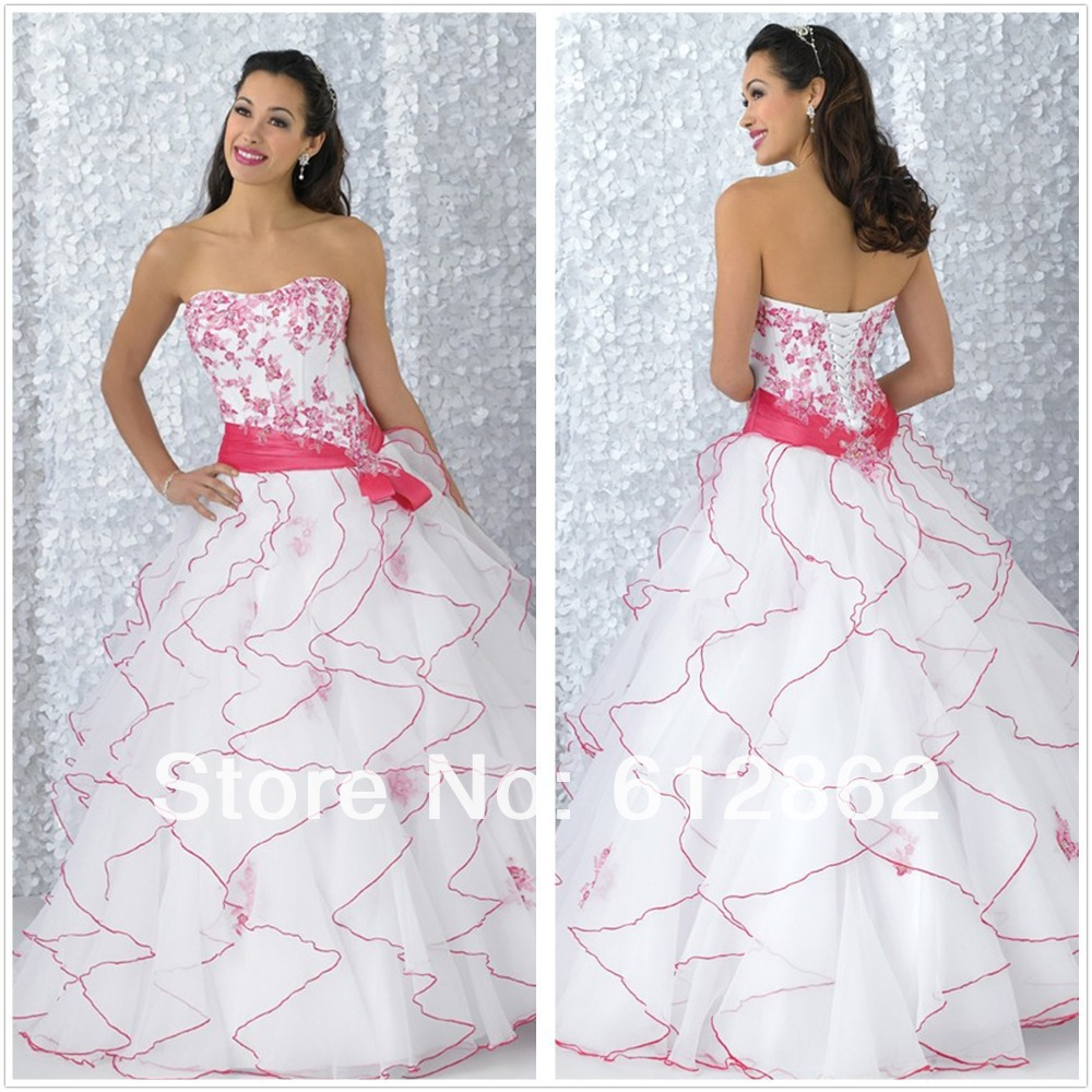 Pink And White Wedding Gowns: Strapless Sweetheart Lace Up Back Ruffled Organza Skirt